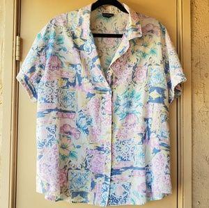 🌸Vintage Pastel Floral Button Down 🌸